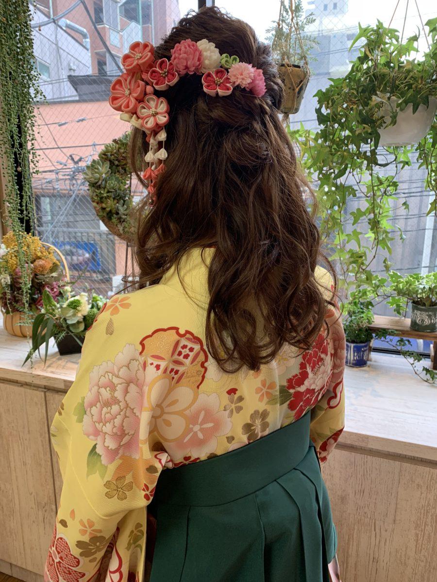 袴の着付けゆるふわハーフアップ