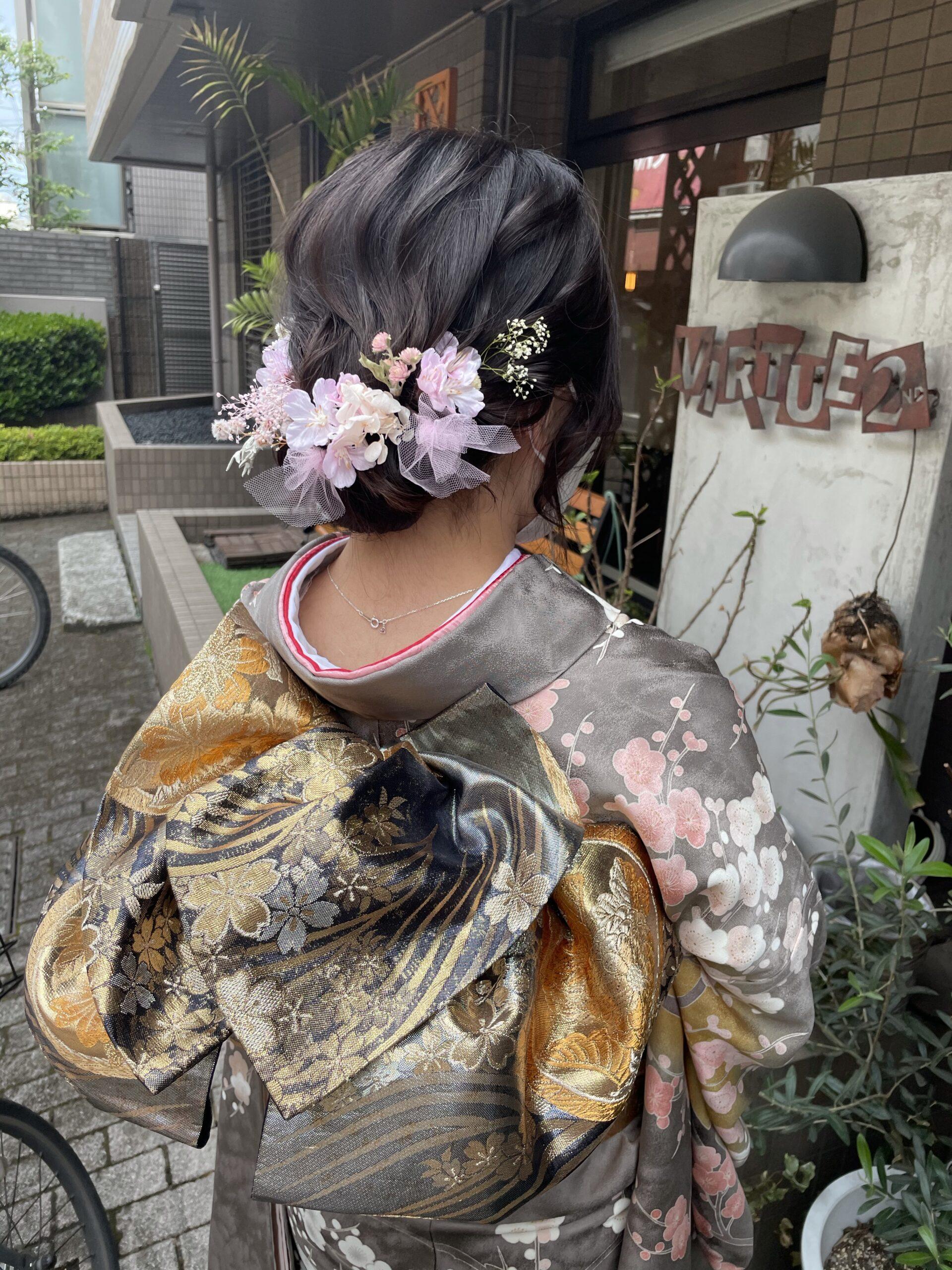 成人式・七五三 美容室で着付けして、お近くの神社や庭園で前撮りもオススメです!!